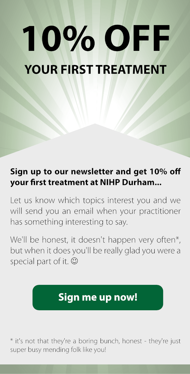 Get 10% off your first treatment at #NIHPDurham